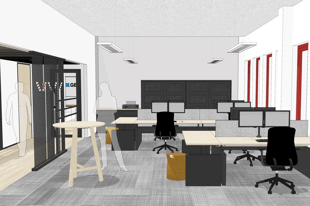 Projecten ontwerp en realisatie van kantoorinrichting for Ontwerp kantoorinrichting